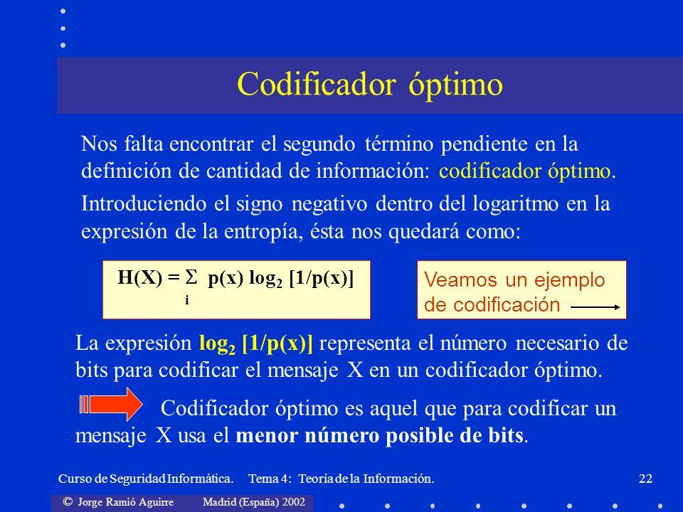 H(X) =  p(x) log2 [1/p(x)]